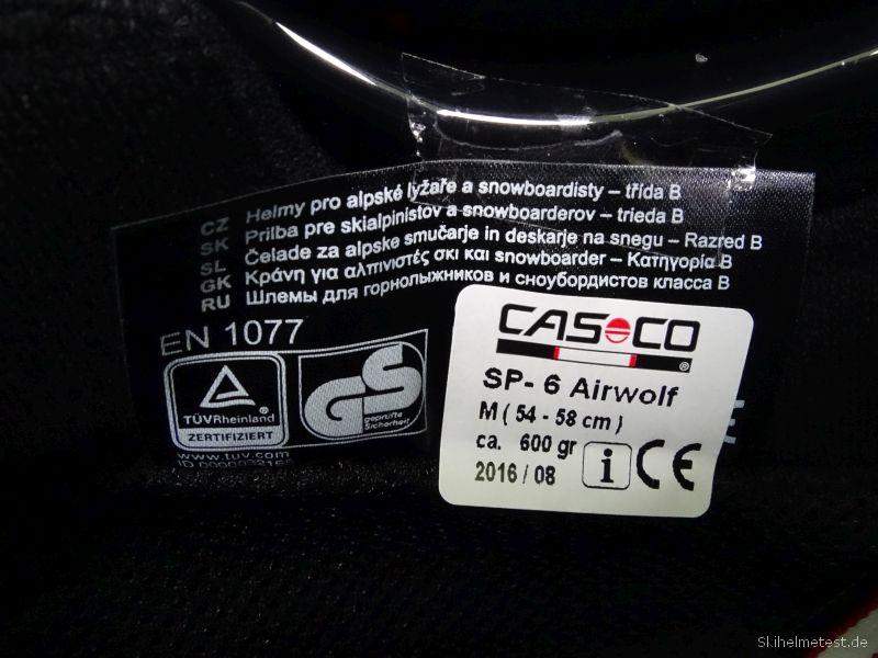 Casco SP-6 Airwolf Prüfsiegel